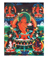 Купить Тханка печатная на холсте Манджушрии (30 х 40 см) в интернет-магазине Dharma.ru
