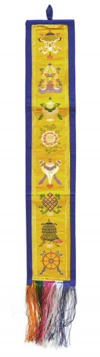 Купить Вымпел с Драгоценными Символами (желтый с синей каймой, 12,5 x 69 см) в интернет-магазине Dharma.ru