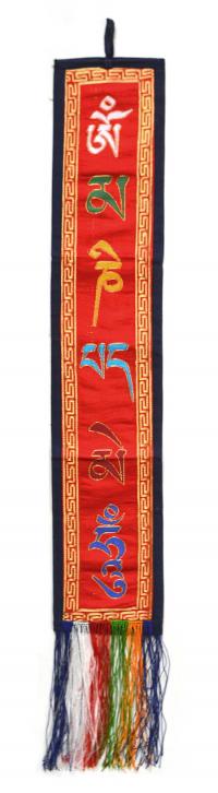 Вымпел с мантрой ОМ МАНИ ПАДМЕ ХУМ (красный с синей каймой, 12,5 x 65 см).