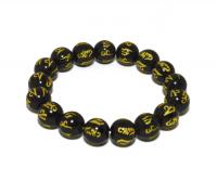 Купить Четки-браслет на резинке с мантрой ОМ МАНИ ПАДМЕ ХУМ черные в интернет-магазине Dharma.ru