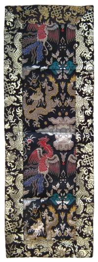 Купить Алтарное покрывало (черное с птицами и драконами), 37 х 104 см в интернет-магазине Dharma.ru