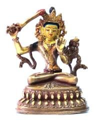 Статуэтка Манджушри, 10 см (бронза, позолота).